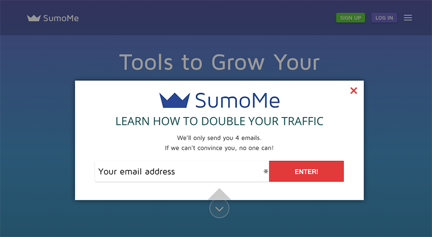 Lead Generation Example: Attention Seeker Pop-up