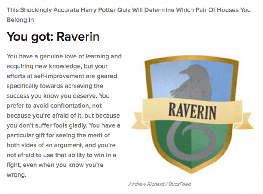 BuzzFeed Raverin - Understanding the Psychology Behind Online Quizzes