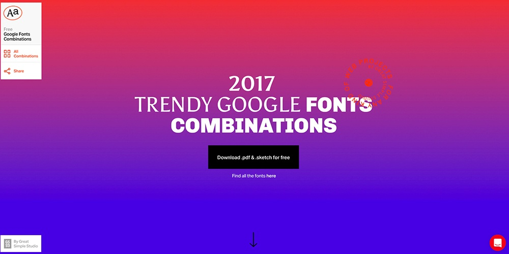 2017 Trendy Google Font Combinations