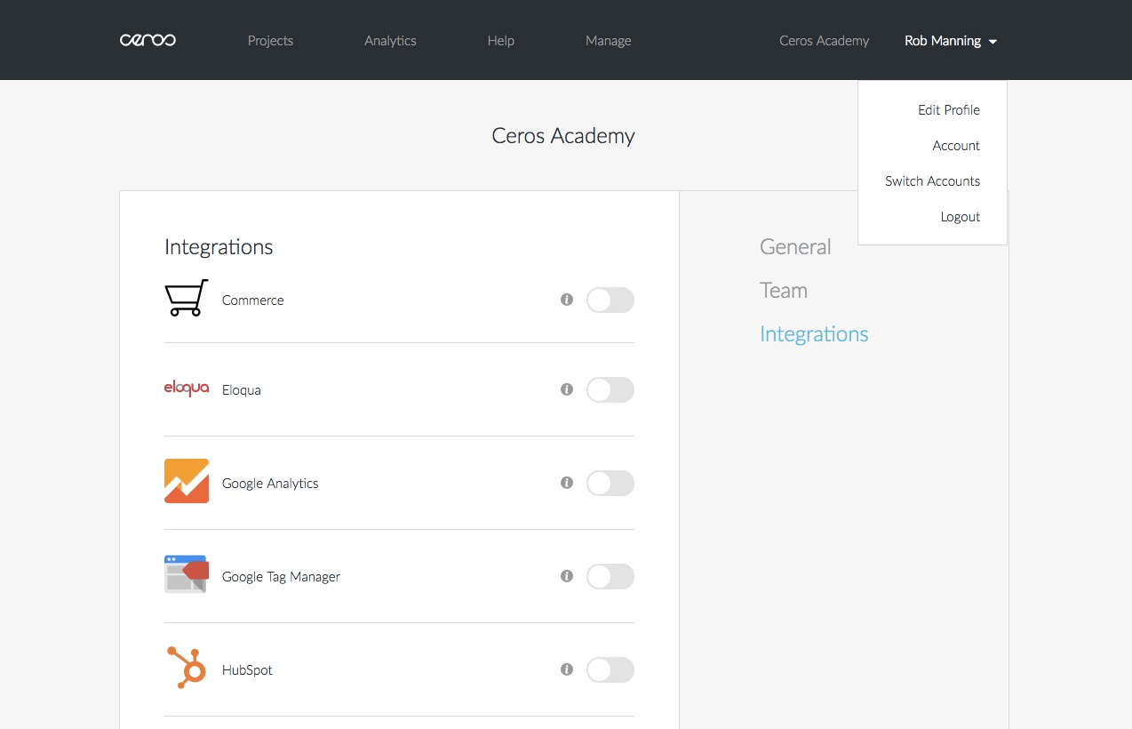 HubSpot Integration Page