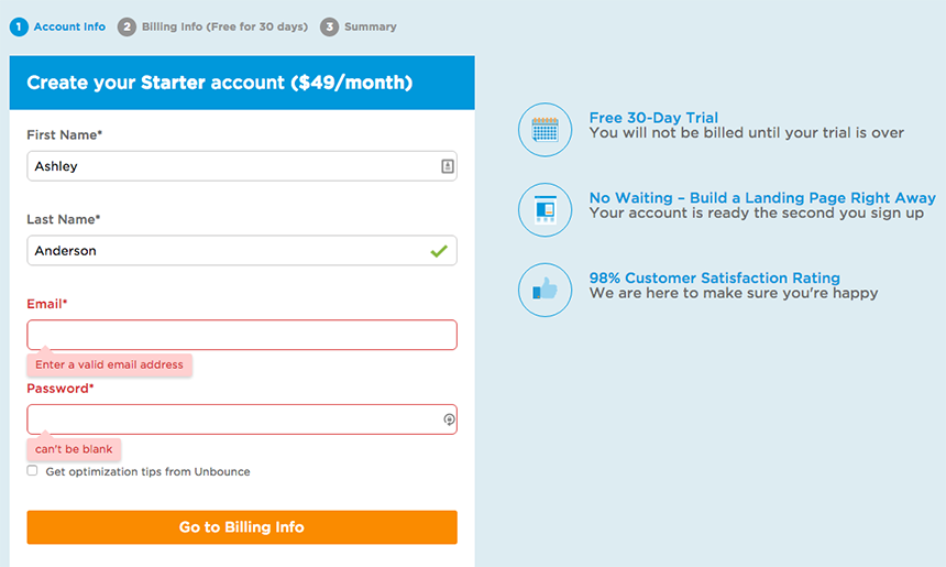 Bad User Experience in Lead Generation: Missing Data Form Feedback